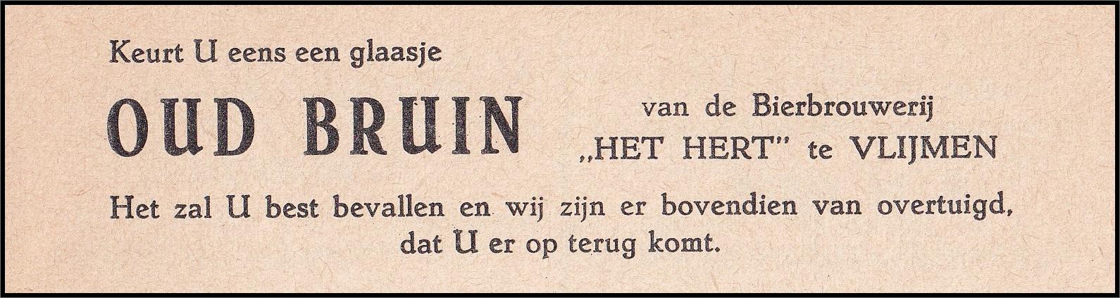 Advertentie Bierbrouwerij Het Hert uit 1964
