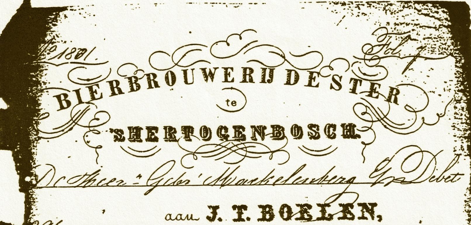 Briefhoofd van bierbrouwerij De Ster uit 's-Hertogenbosch (met dank aan John Klijnholstz)